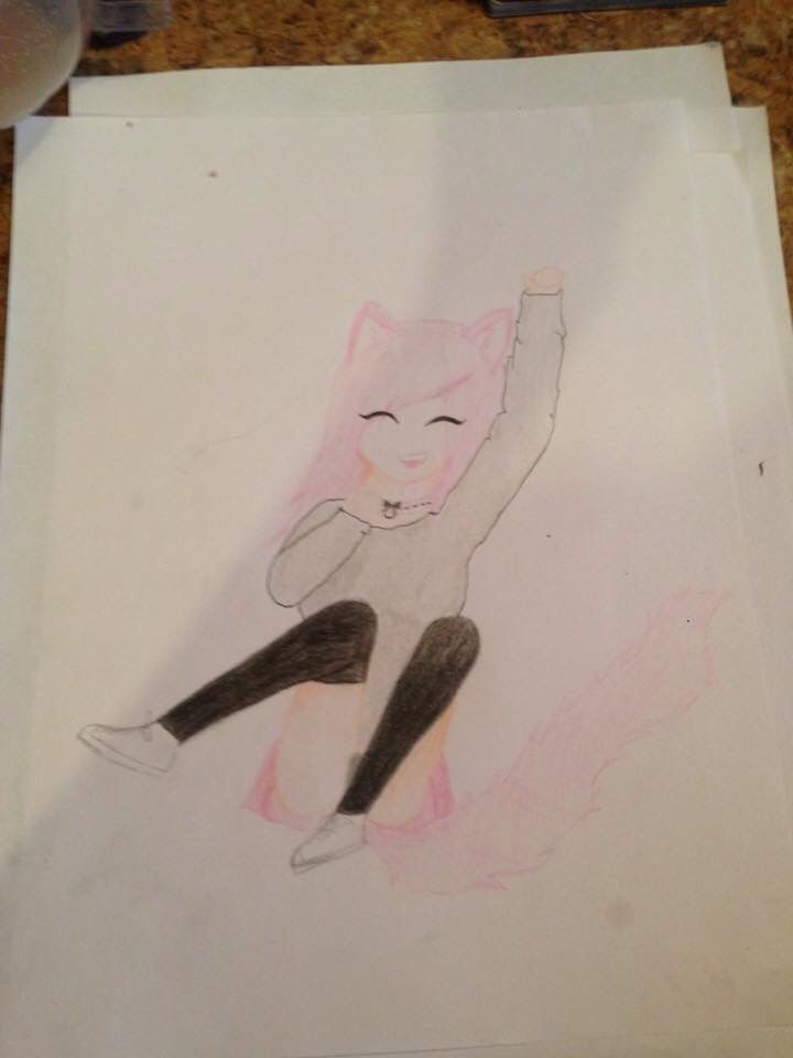 Kitten play pet play anime girl drawing