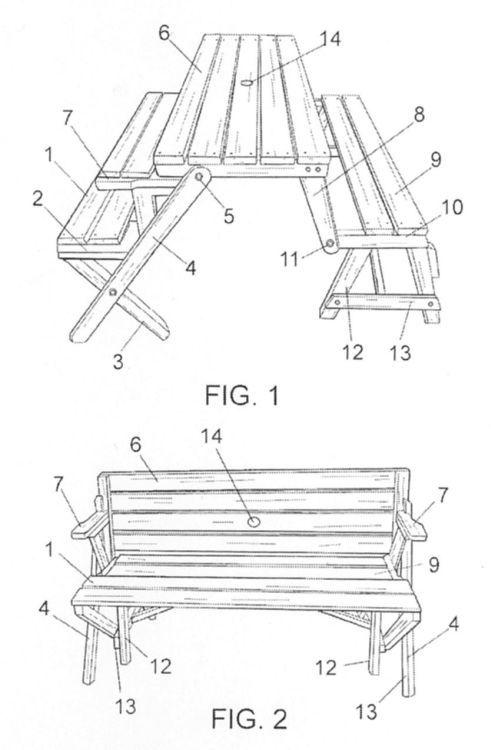 Mesa banco convertible casa planos para mesa de picnic for Mesa plegable con asientos