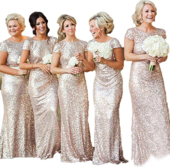 CustomDress Gold Mermaid Bridesmaid Dresses Sequins Backless Wedding Party Gown (US 2, Rose Gold)