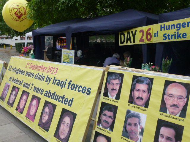 Hunger strike outside US Embassy in London