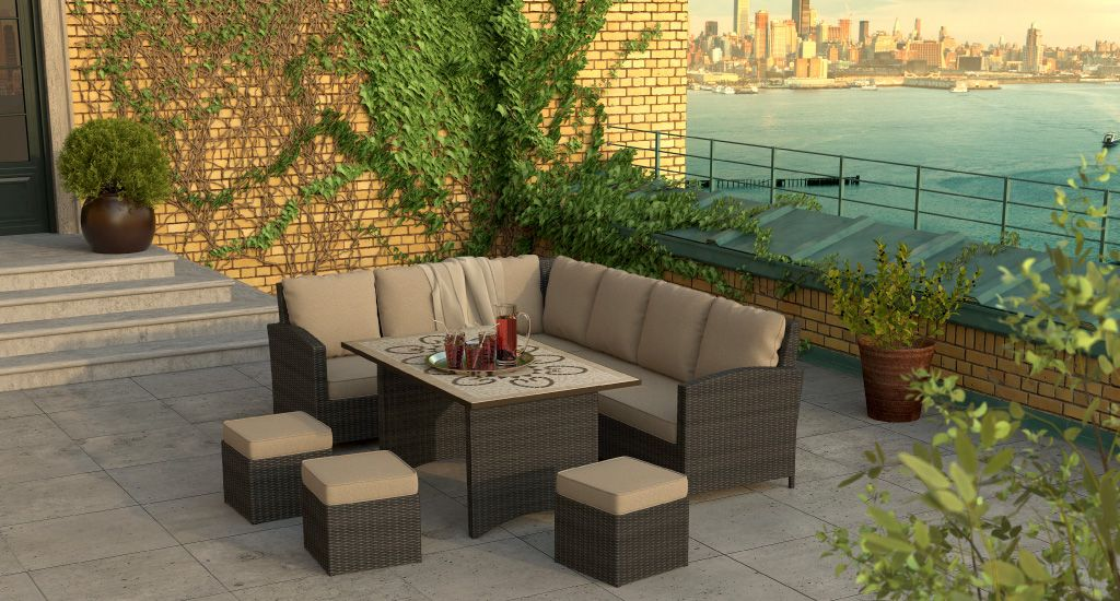 deluxe flat weave savannah modular lounge set traditional garden furniture for outdoor dining