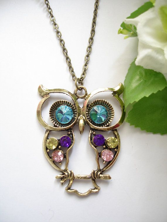 Antique Inspired Blue Eyes Owl Necklace by leycollection on Etsy, $1.50