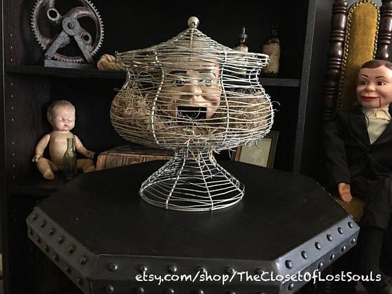 Speechless Scary Creepy Doll Head Caged Macabre Oddities Thriller - scary halloween props