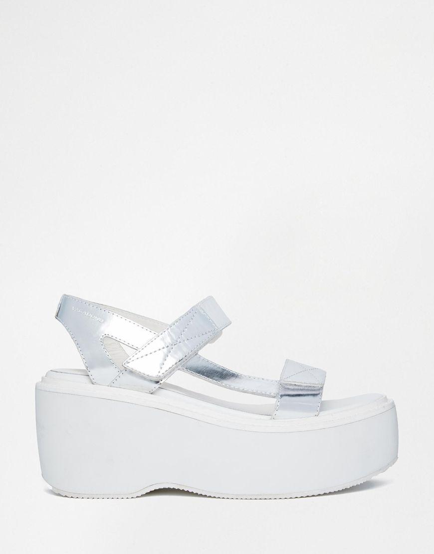 069717be6e0f Vagabond Alexis Metallic Silver Flatform Sandals