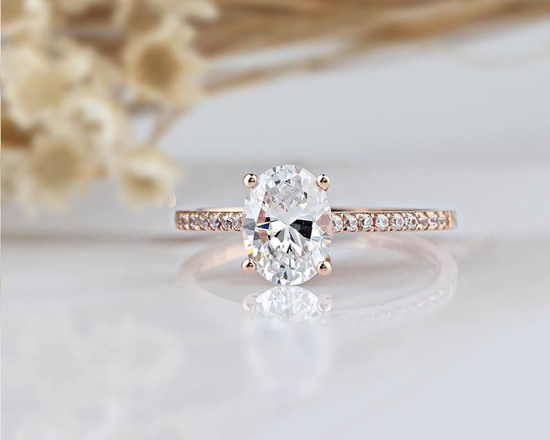 14k Solid Gold Ring 1 5ct Oval Simulated Diamond Wedding Ring Moissanite Engagement Ring Anniversary Ring Promise Ring Rose Gold Ring Gold Diamond Wedding Band 14k Engagement Ring Unique Engagement Rings