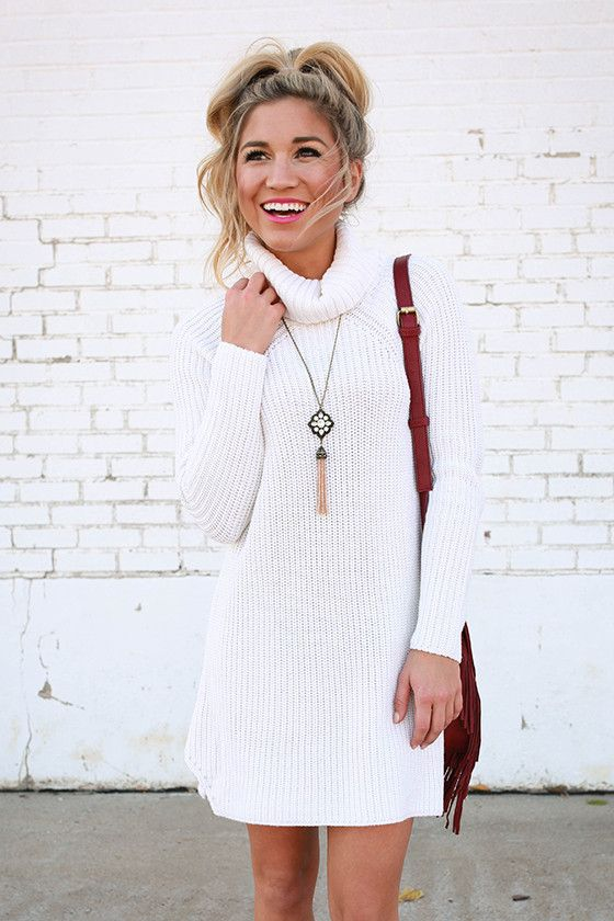 Vino in Vail Sweater Tunic in Ivory | Faux leather leggings ...