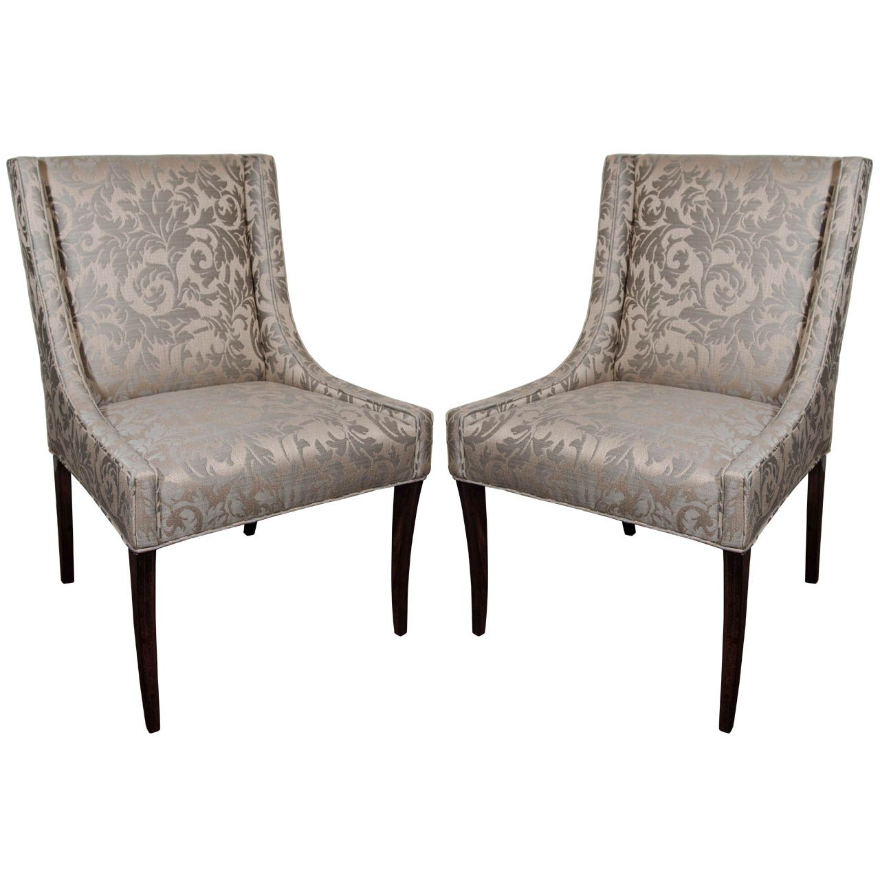 Great Pair Of Elegant Upholstered Occasional Chairs With High Back Design
