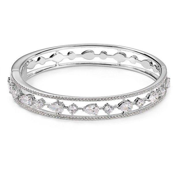 Nadri Pave Bangle (£98) ❤ liked on Polyvore featuring jewelry, bracelets, silver, silver bangle bracelet, hinged bracelet, sparkle jewelry, pave jewelry and pave bangle bracelet