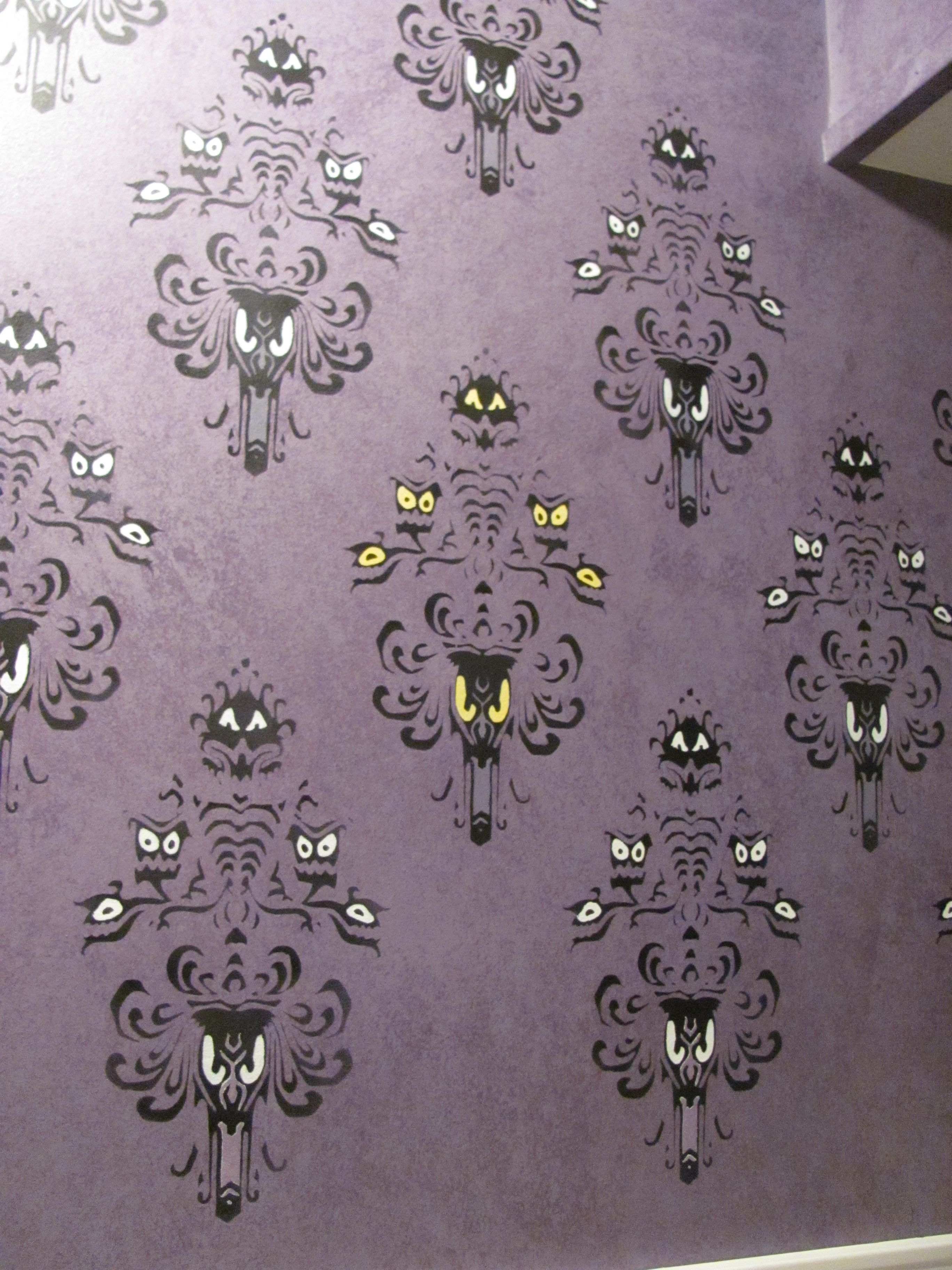 I Couldn T Find Or Afford Haunted Mansion Wallpaper So I Made My Own Stencil Haunted Mansion Decor Haunted Mansion Wallpaper Haunted Mansion Halloween