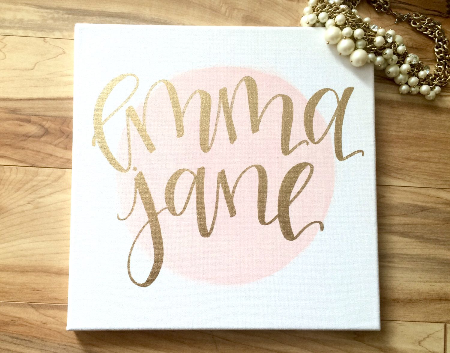 Custom Baby Name Sign 12x12 Canvas Sign Nursery Decor Baby Girl