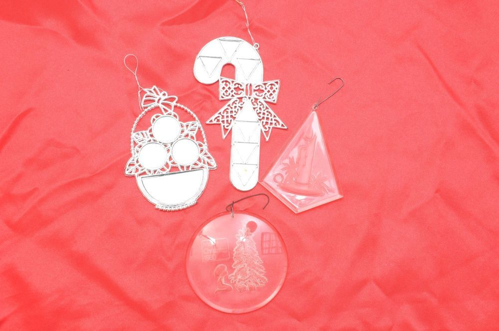 Mirror / Plastic Clear Christmas Ornaments Set of 4 1980