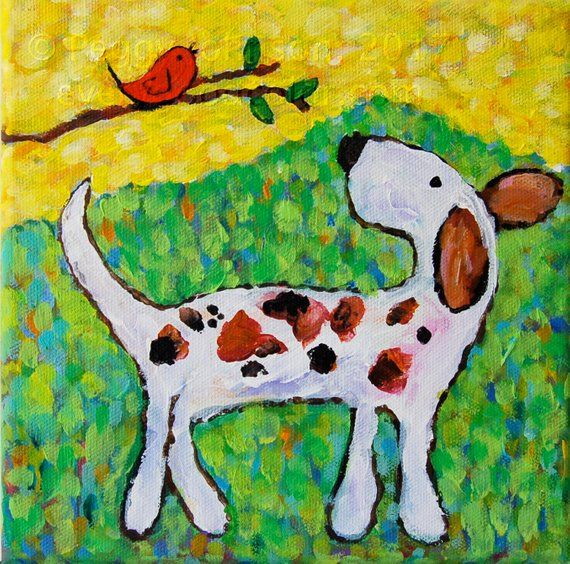 Whimsical Dog And Bird Friends Painting Canvas Or Paper Giclee
