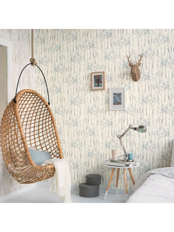 Tree Design Wallpaper Living Room: Galerie Skandinavia Tree Wallpaper, Blue 51142801