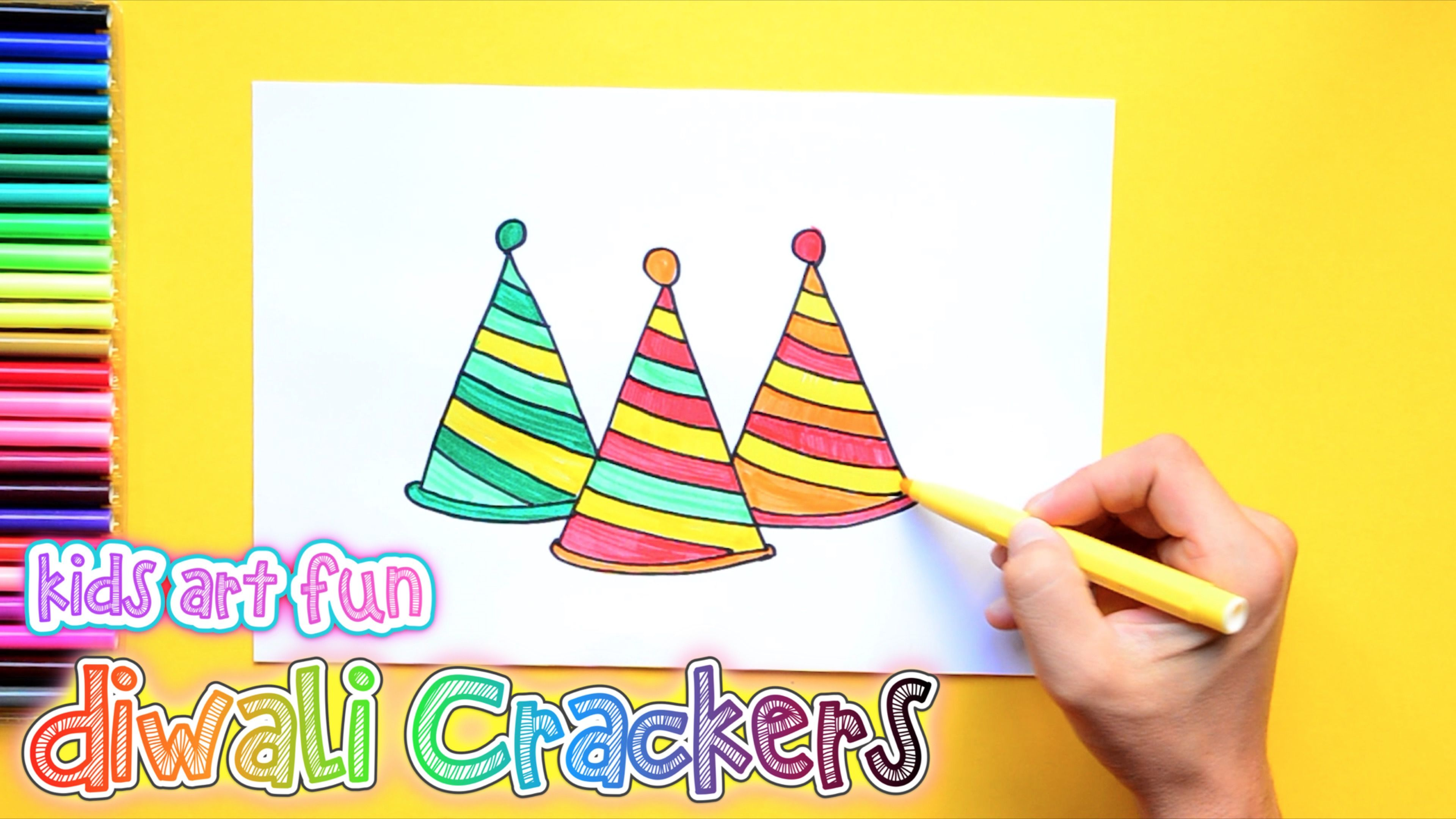 How to draw and color Diwali Crackers Anar or Flower Pot