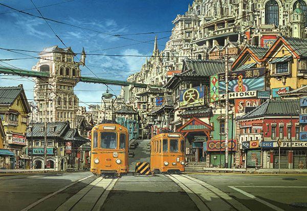 画像 海外アニメファンが芸術として集める日本アニメの背景画 naver まとめ アニメ 背景 建物 イラスト 背景画