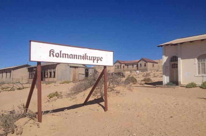"""Full-Day Kolmanskuppe and Luderitz Private Tour from Swakopmund One of Namibia's famous attractions is the """"Ghost Town"""" of Kolmanskuppe near Luderitz. Due to the great distances between attractions in Namibia it makes it difficult to reach all place should you have time constraints. This excursions allows you to visit Kolmanskuppe for the day and return on the same day. If you want to see the most well preserved architecture then this is a must. Your flight starts i..."""
