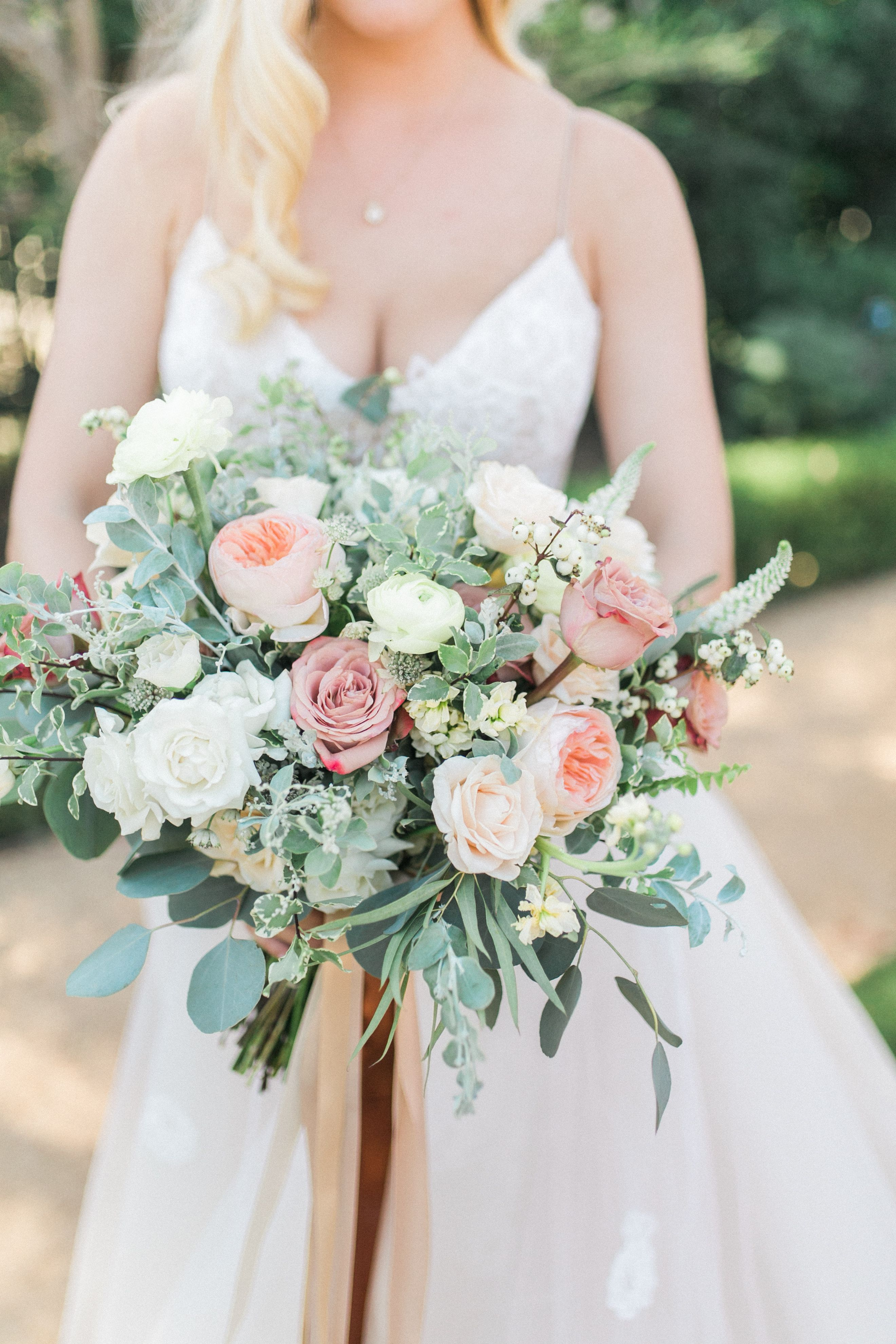 Earthy Bridal Bouquet With Blush And Cream Roses Boho Wedding