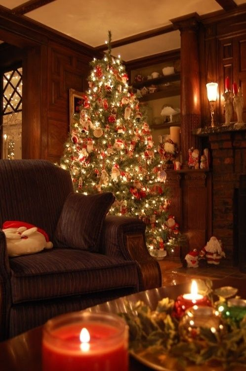 Tree and Candles.  This Christmas scene looks warm and inviting.