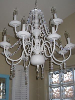 Love This Painted Brass Chandelier They Used Garland For A - Used chandelier crystals