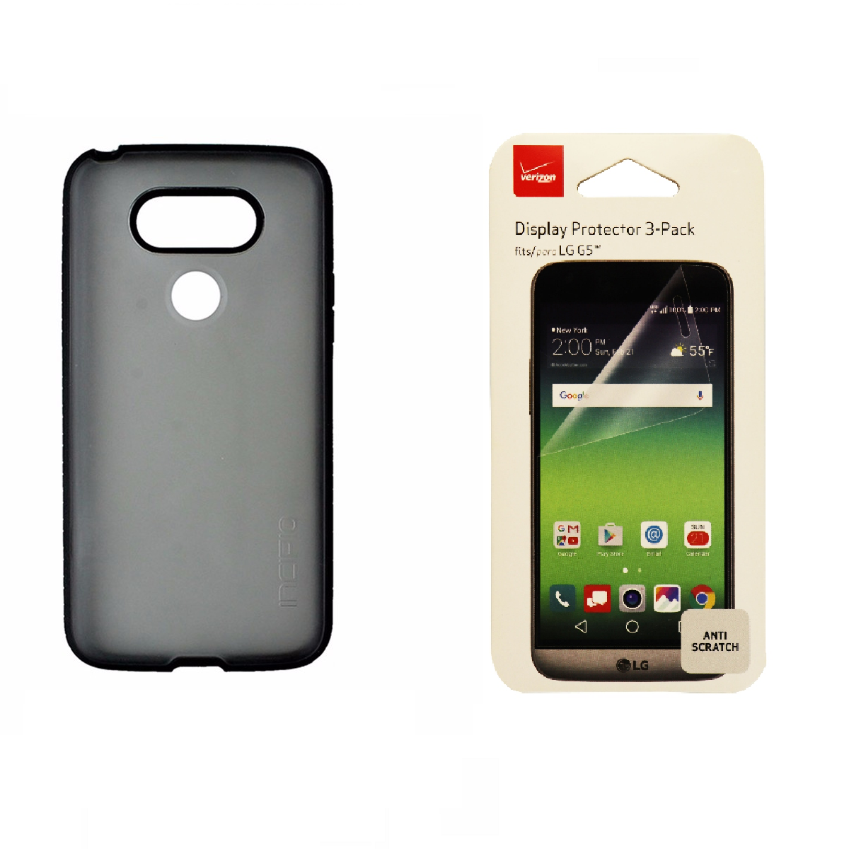Incipio Black Frost Case and Verizon Screen Protector 3-Pack for LG G5