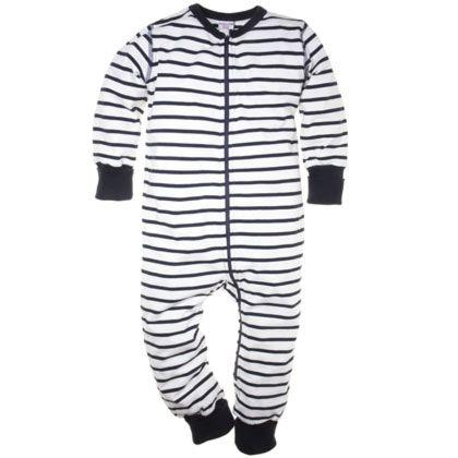 Polarn O. Pyret-randig pyjamas i ekologisk bomull.Blixtlås från hals till benslut underlättar av- och påklädning. Enfärgade muddar vid ärm- och benslut som går att vika upp och ned. Storlek 50/56 och 62/68 har fot nedtill. Extra mjuka sömmar som inte skaver.  95 % bomull 5 % elastan