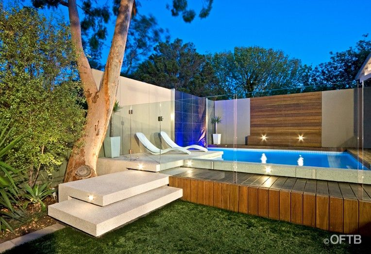 Oftb Melbourne Landscaping Pool Design Construction Project Plunge Pool Water Feature Wall Pool Deck Inc Pool Designs Raised Pools Small Backyard Pools