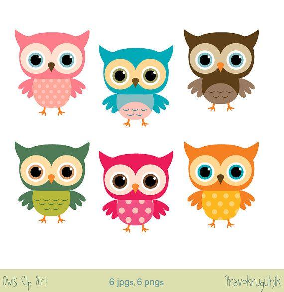 Baby owl clip art Girl owl clipart Rainbow owls on ...