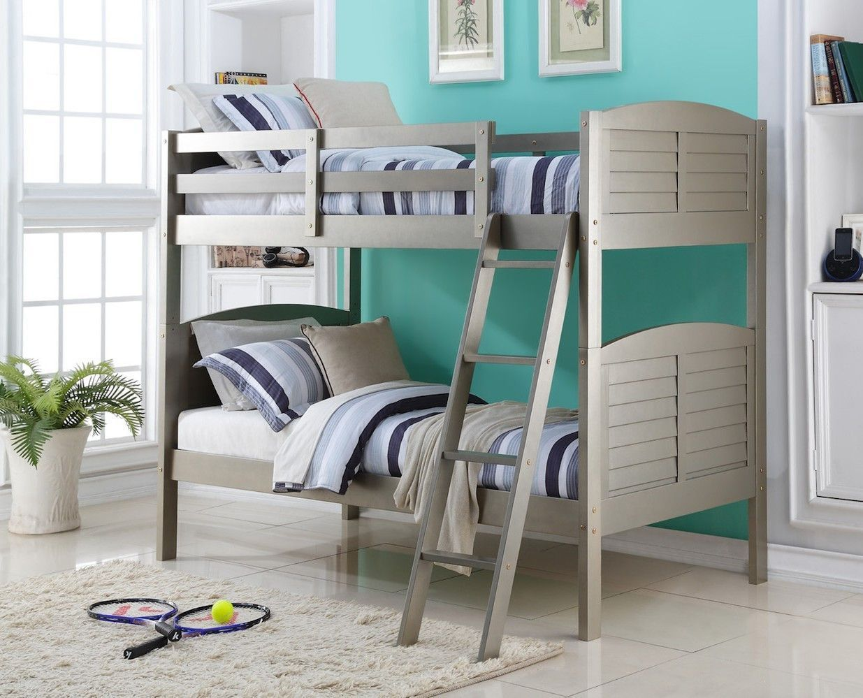Grey loft bed with desk  Bunk Beds for Teens in a Platinum Grey Finish  Products  Pinterest