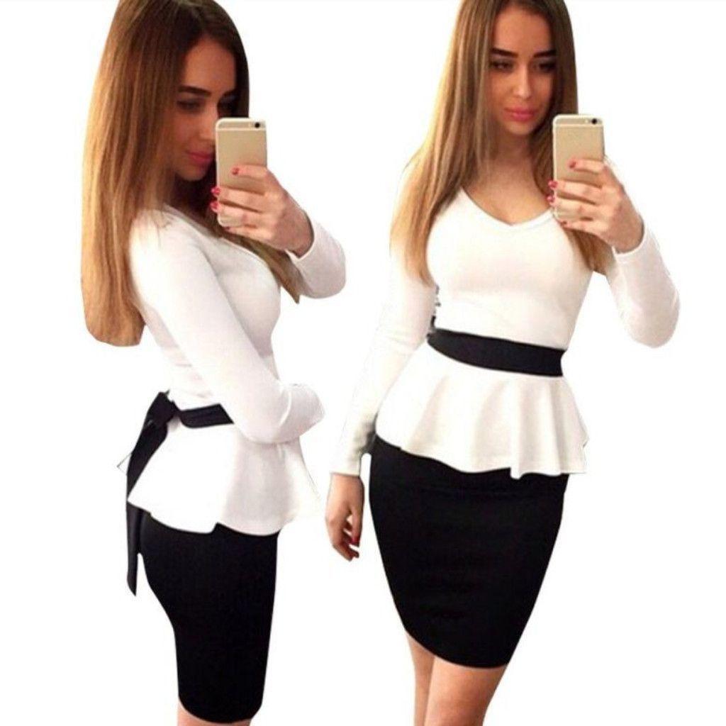 Blackwhite long sleeve women peplum dress dresses