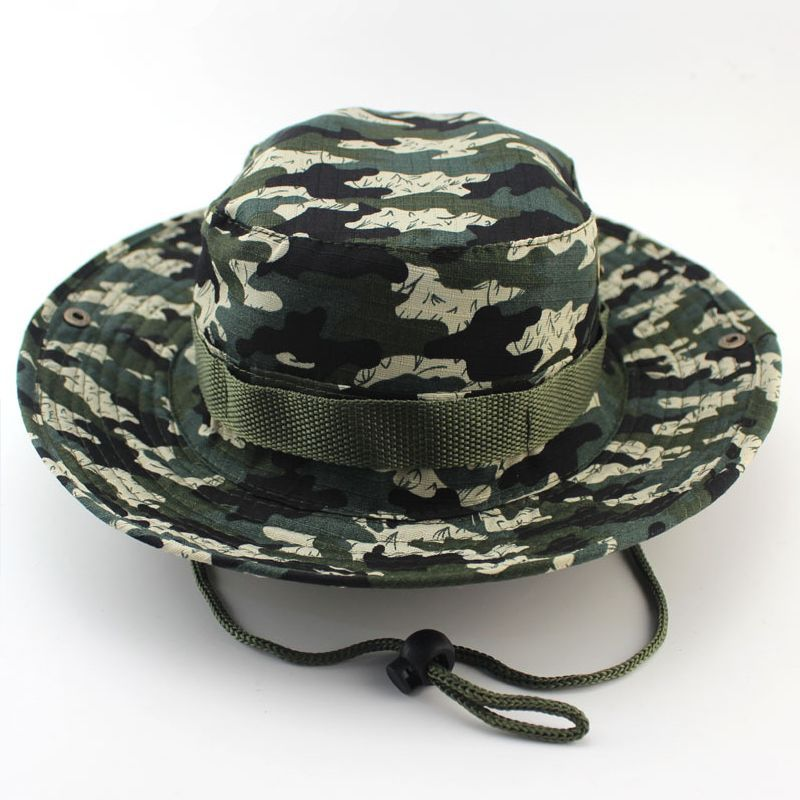 dd28177819c Bamboo Camo Side Snap Bucket Boonie Hat Sun Caps
