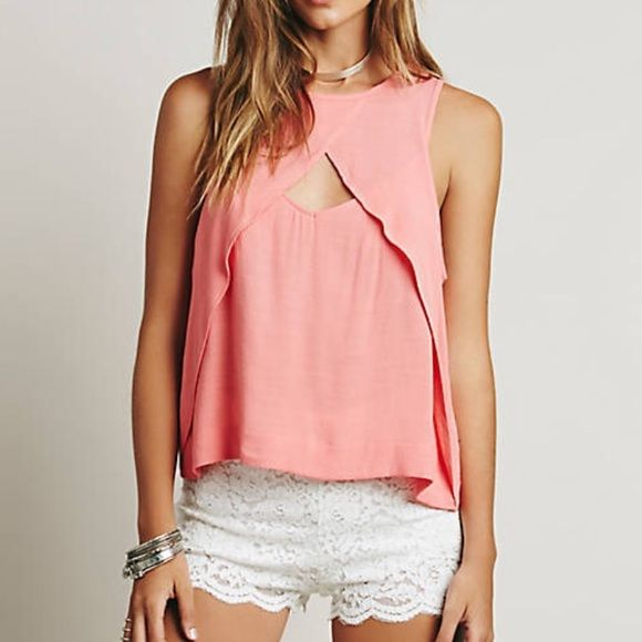 Free People Coral Cut Out Tank Top Brand new with tags Free People Tops Tank Tops