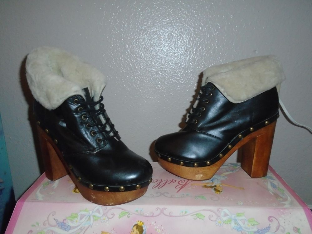 WOODIES Jeffrey Cambell Black Leather & Shearling Platform Ankle Boots sz 9 #JeffreyCampbell #AnkleBoots