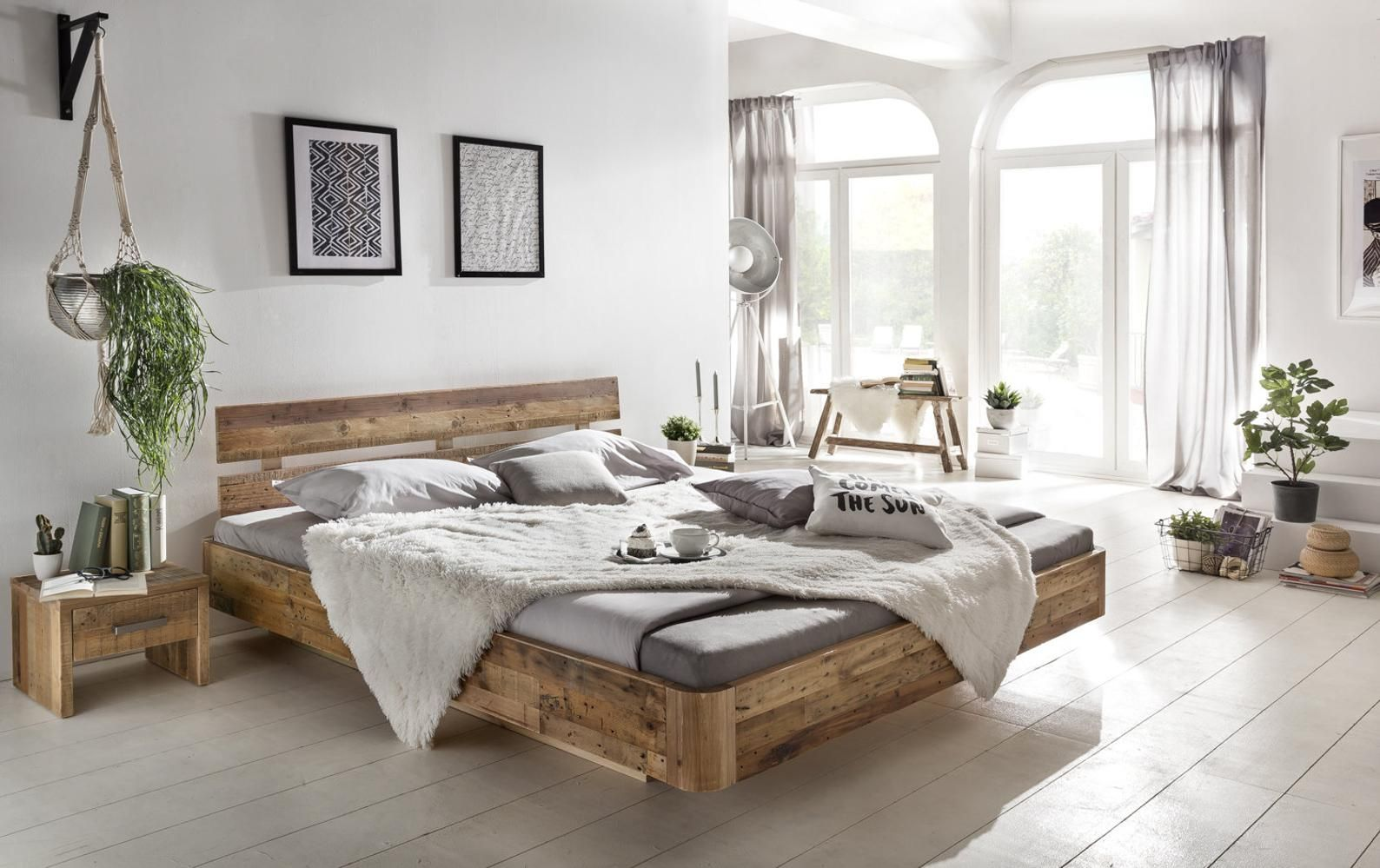Woodking's bed Hampden 180x200 wooden bed suspended double