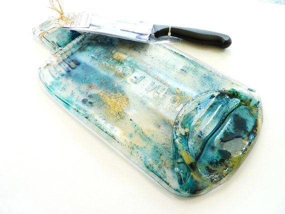 Flat bottle cheeseboard with knife turquoise blue by KilnFiredArt, £18.00