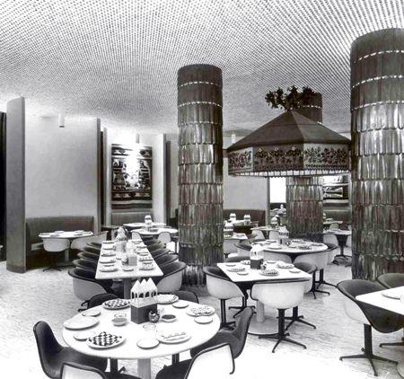 interior of Mexican inspired restaurant la Fonda del Sol, NYC by Alexander Girard (1960)
