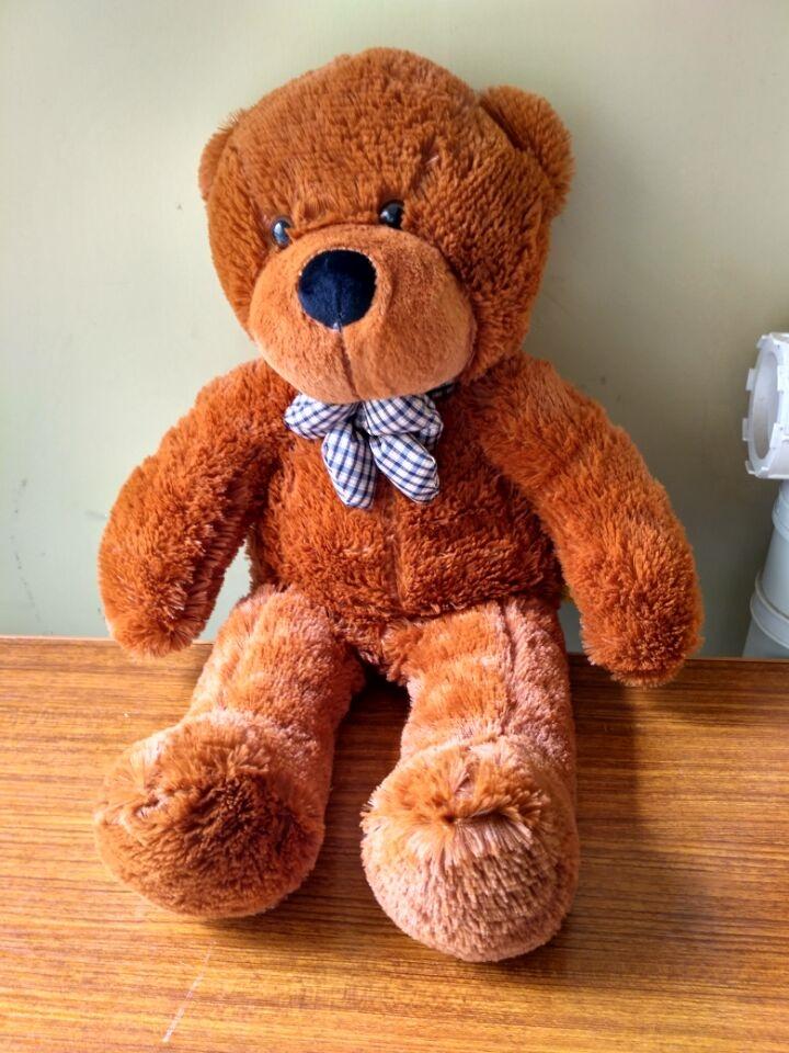 31.89$  Buy here - lovely bear toy plush toy cute big eyes bow stuffed bear toy teddy bear birthday dark brown 100cm  #buyonline