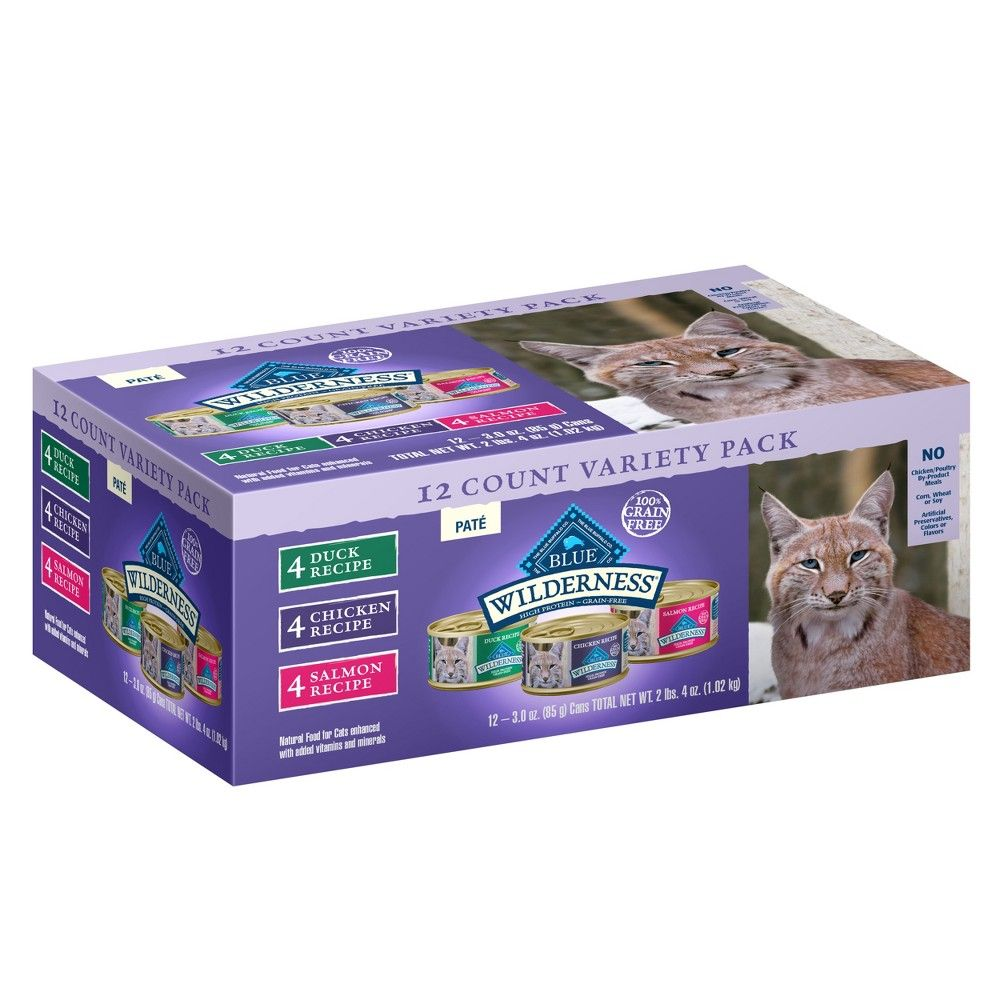 Blue Buffalo Wilderness 100 Grain Free Duck Chicken Salmon Pate Adult Wet Cat Food 3oz 12ct Wet Cat Food Cat Food Blue Buffalo