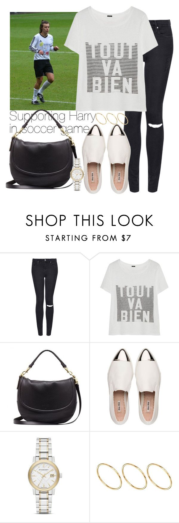 """Supporting Harry in soccer game"" by wkus ❤ liked on Polyvore featuring Topshop, J.Crew, Mulberry, Miu Miu, Burberry and ASOS"