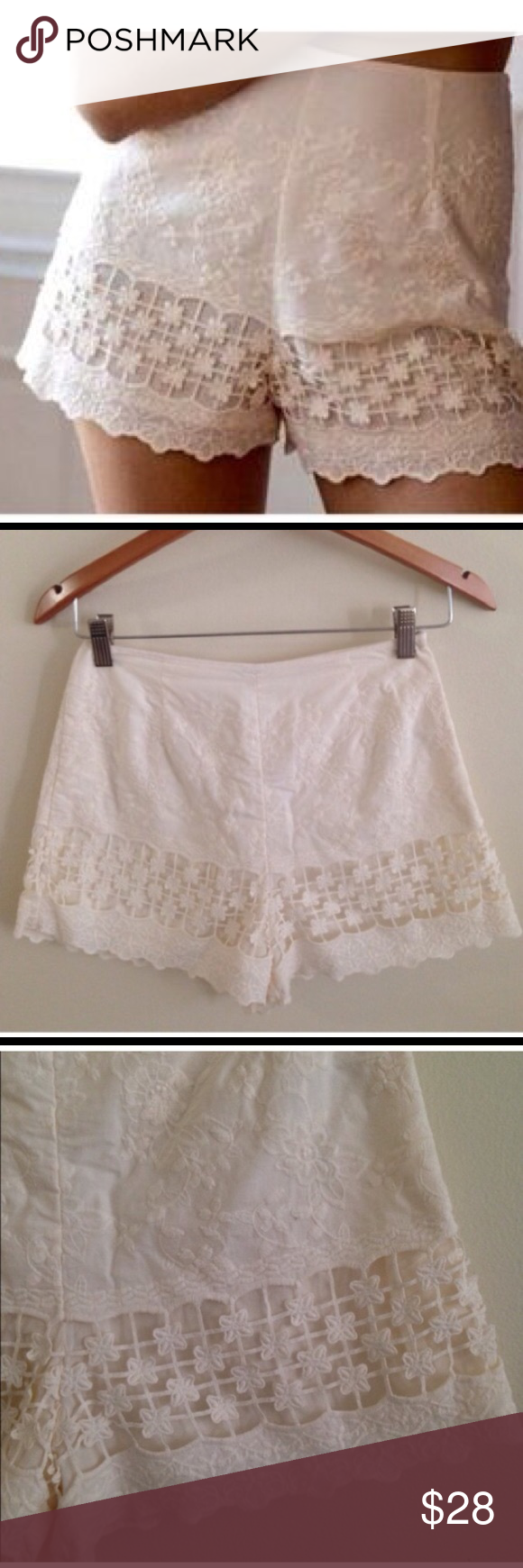 Kimchi Blue Ivory Lace Shorts Brand new! Adorable addition to your summer wardrobe! Urban Outfitters Shorts