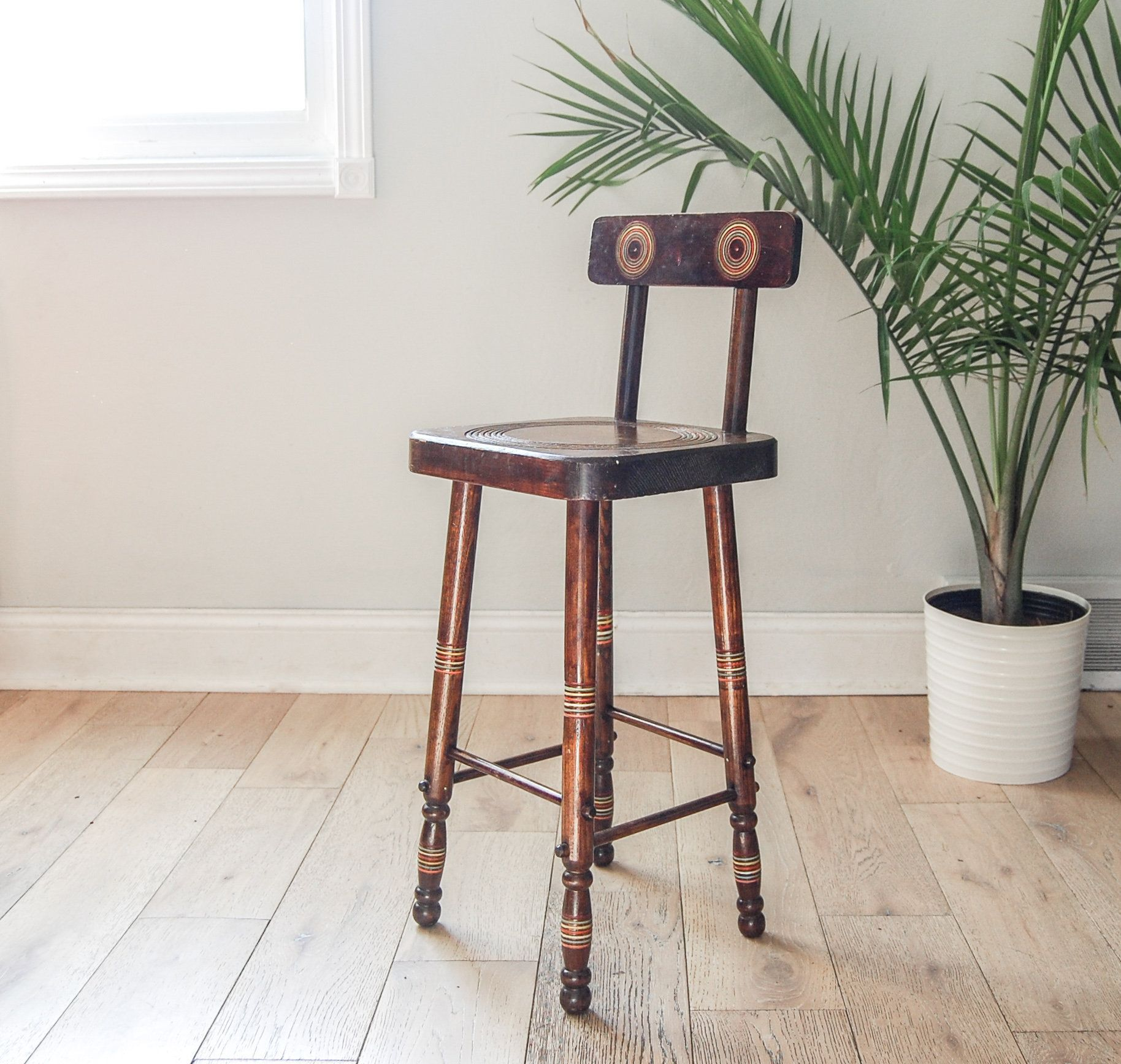 Child S Wooden Stool With Back And Rainbow Stripes Stools With