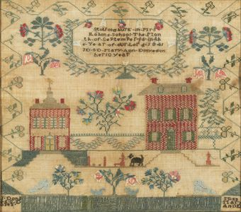 A SILK ON LINEN NEEDLEWORK SAMPLER. WORKED BY MARY ANN DINYES, STOUCHBURY, PENNSYLVANIA, 1841, MRS. ROBIN'S SCHOOL