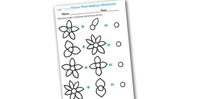 Twinkl Resources >> Numbers on Flowers Addition Worksheet