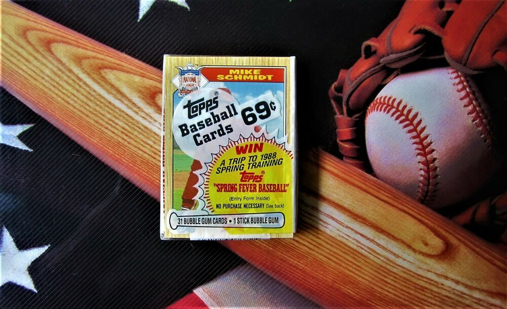 1987 topps cello pack mike schmidt showing sealed