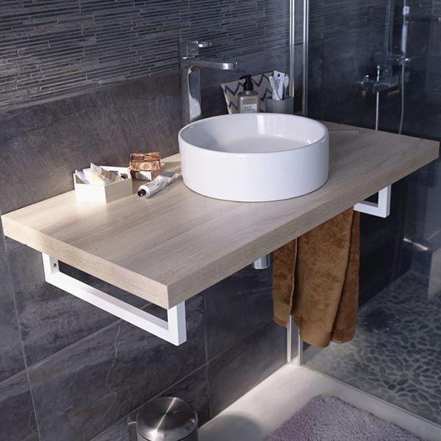 Plan De Toilette Decor Chene Cooke Lewis Cavado 90 Cm Mit Bildern Regal Dekorieren