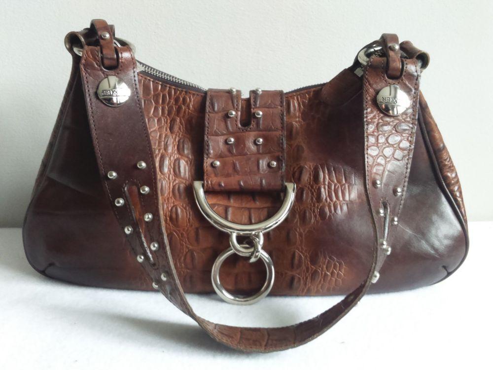 Vintage FRANCE TEXIER Women Pebbled Leather Sling Hobo Slouch Shoulder Bag ea359e06755e5