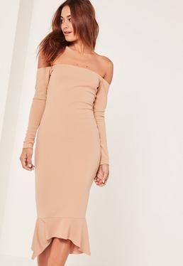 Nude Bardot Fishtail Hem Dress  94c997efe