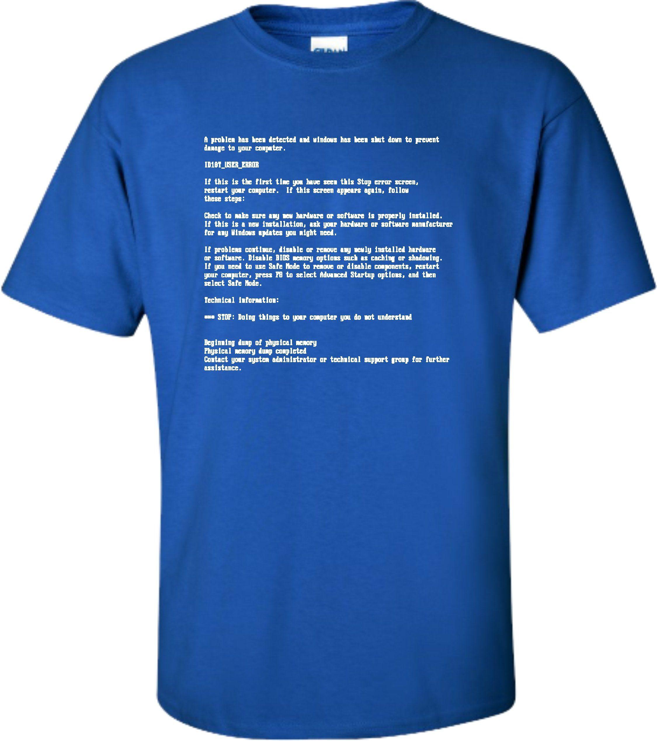 Medium Royal Blue Adult Blue Screen Of Death Funny Geek Nerd T-Shirt