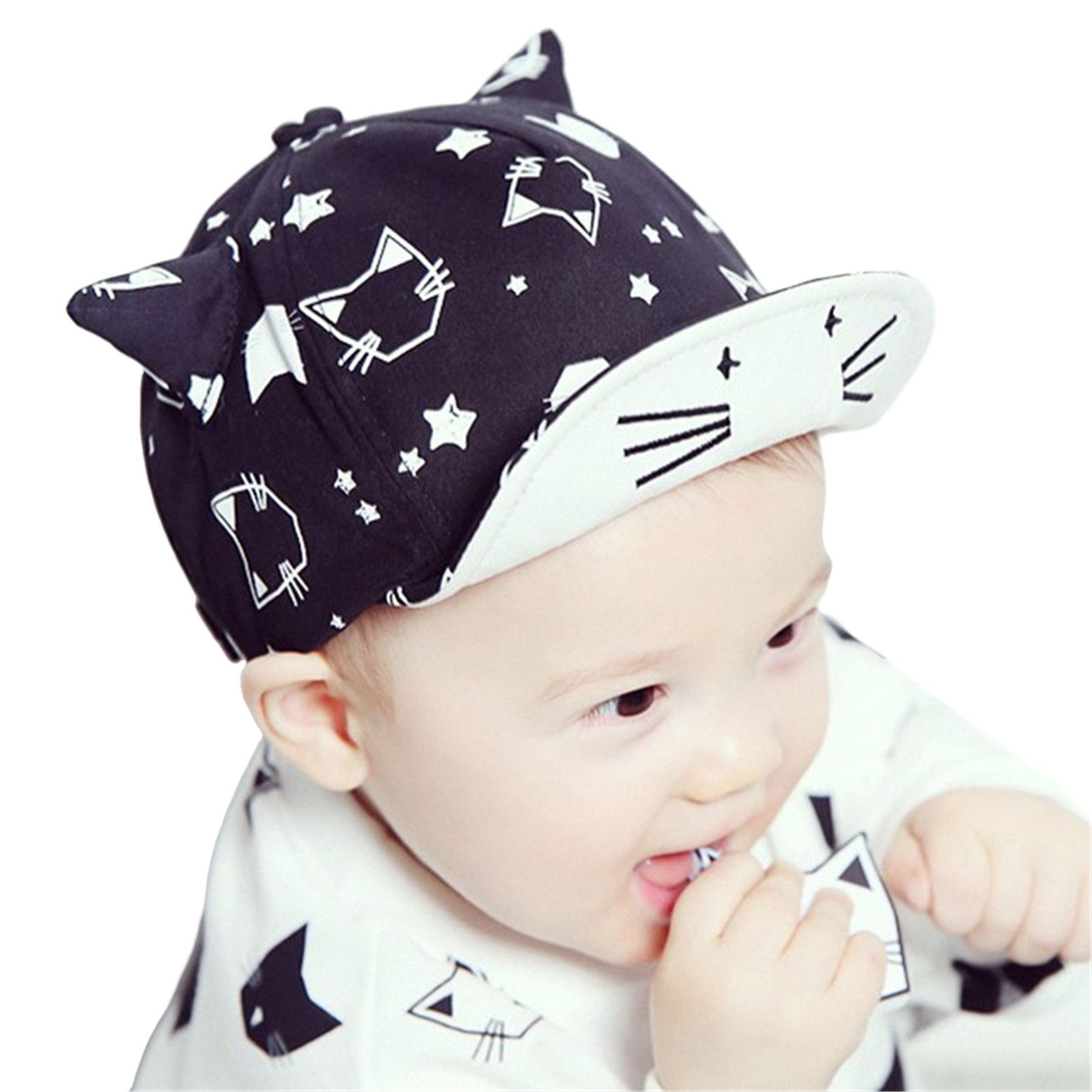 49b653e5d447 Baby Baseball Cap Cute Print Cat Sun Hat With Ears For Boy Girl ...