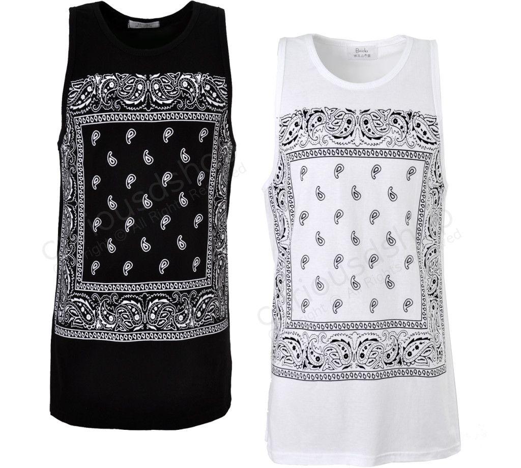 Black t shirt ebay - Details About New Paisley Bandana Handkerchief Print Graphic Tank Top Vest T Shirt Black White
