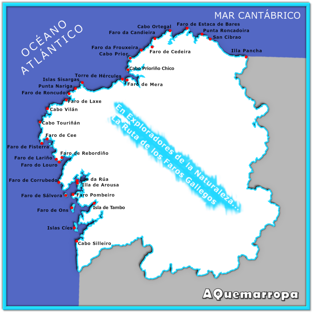 Estaca De Bares Mapa.Mapa Con La Ubicacion De Todos Los Faros Que Hay En Galicia